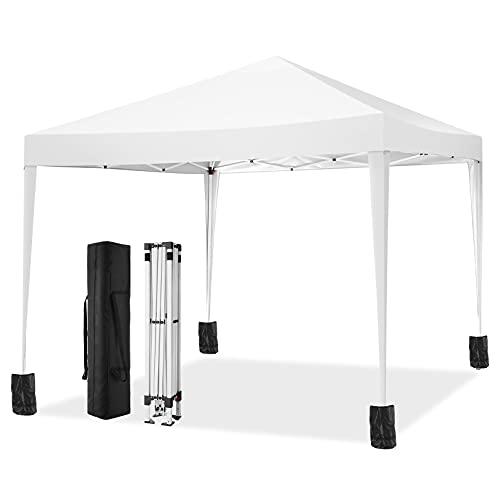 TOOLUCK Falt Pavillon 3x3 Wasserdicht UV-Schutz Pavillon Pop Up Gartenzelt mit 4 Sandsacks, Weiß
