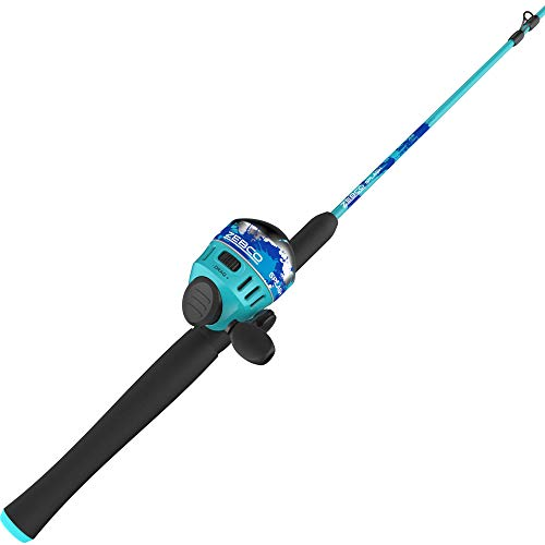 Zebco Splash Spincast Reel and Fishing Rod Combo, 6-Foot 2-Piece Fishing Pole, Size 30 Reel, Changeable Right- or Left-Hand Retrieve, Pre-Spooled with 10-Pound Zebco Line, Blue