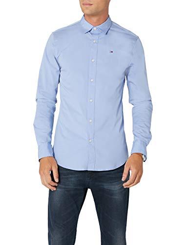 Tommy Hilfiger Original Stretch Shirt Camisa, Azul (Lavender Lustre), M para Hombre