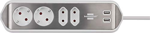 Brennenstuhl estilo Ecksteckdosenleiste 4-fach (Tischsteckdose mit Edelstahloberfläche für Küche und Büro, Ecksteckdose mit 2x Schuko-Steckdosen, 2x Euro-Steckdosen, USB-Ladefunktion) silber/weiß