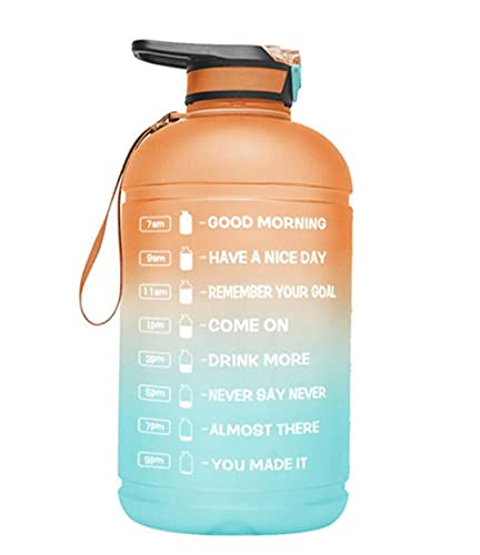 JINBAOYA-Portable half-gallon 2.4L sports water bottle with portable straw and time stamp, BPA-free and leak-proof Tritan, suitable for fitness, gym and outdoor sports,light Pink/Green Gradient
