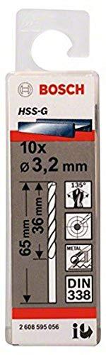 Bosch 2608595056 Din338 HSS-G Metal Drill Bit, 3.2mm x 36mm x 65mm, Silver