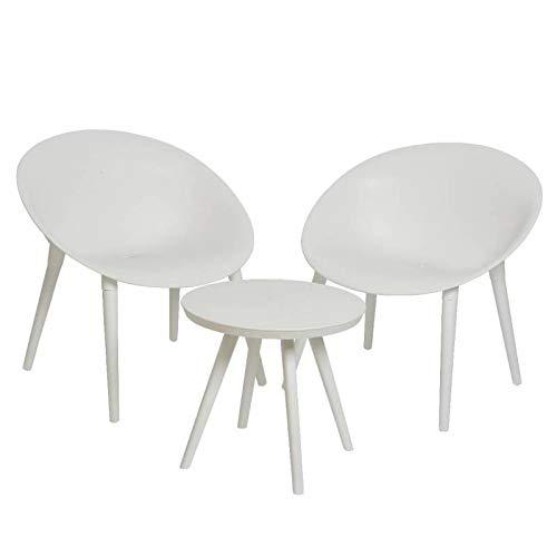 L'Héritier Du Temps Salon de Jardin Moderne Salon de Thé 2 Places Personnes Contemporain Table Bistrot et 2 Chaises en PVC Blanc