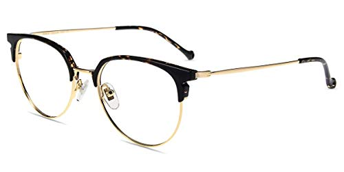 Firmoo Blaulichtfilter Brille ohne Sehstärke für Damen Leopardenmuster, Herren Browline Computer Brille gegen Kopfschmerzen, Blaulicht UV Schutzbrille für Bildschirme Leichtgeiwcht