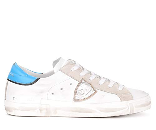Philippe Model Sneaker Paris X In Pelle Bianca Con Spoiler Azzurro