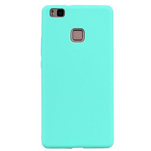 cuzz Funda para Huawei P9 Lite+{Protector de Pantalla de Vidrio Templado} Carcasa Silicona Suave Gel Rasguño y Resistente Teléfono Móvil Cover-Azul Claro