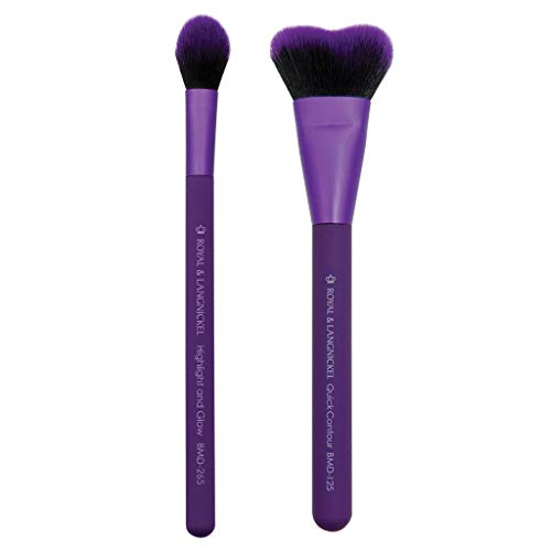 MODA Perfect Pairs Insta-Glow Makeup Kit Includes, Quick Contour and Highlight Brushes, Purple