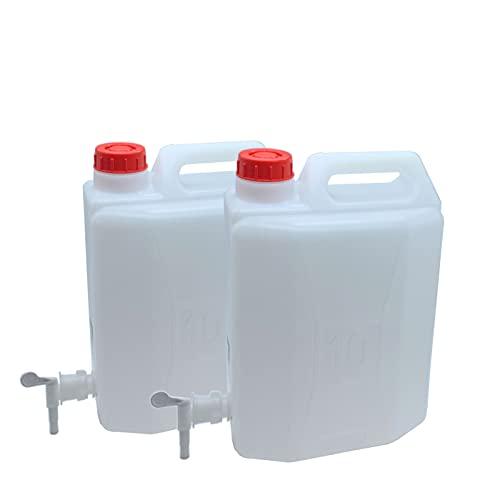 Set de 2 Bidones de Agua, Garrafa en Plástico Alimentario, Tanque Agua, Jarra con Grifo 10 litros 36 x 32 x 16 cm