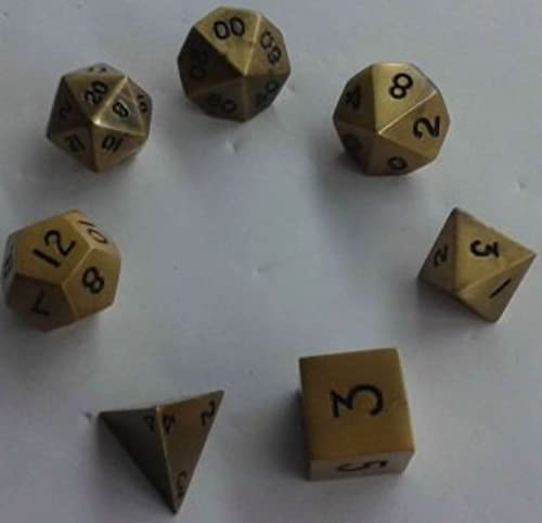 Metal Dice Polyhedral Set of 7 die (7) Antique or