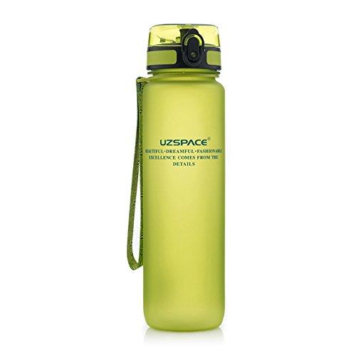 Uzspace Sporthallen Schulen Tritan Wasserflasche Bpa-Frei Wandern Radwandern Wasserflasche Mit Flip-Top Deckel - grün - 1L