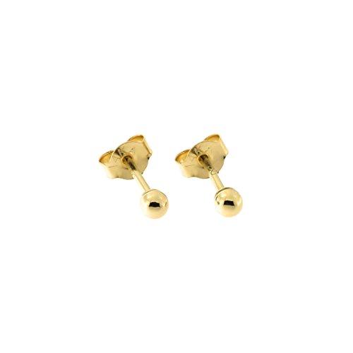 14 Karat Yellow Gold Round Bead Ball Stud Earrings, 2 Millimeters