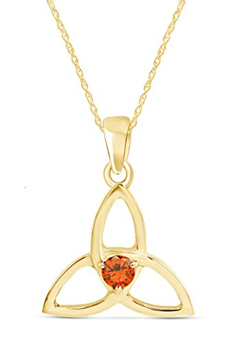AFFY Simulated Citrine Celtic Trinity Knot Pendant Necklace in 14K Yellow Gold Over Sterling Silver