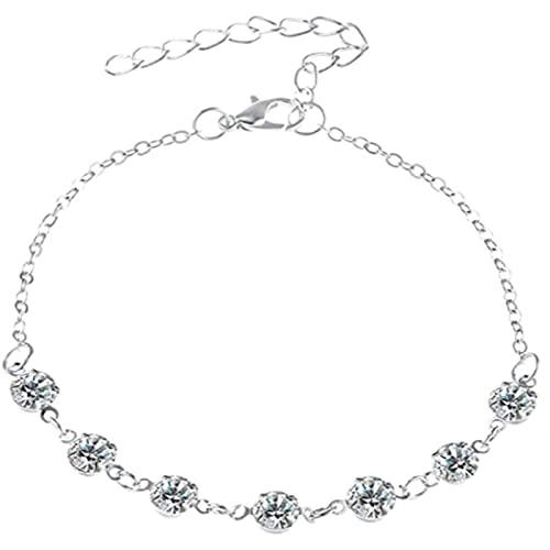 XinLuMing Tobillera de Cristal de Plata y de Oro con joyería de la Playa de la Cuerda de la circonia cúbica Regalos de los Anklet Bohemios para Las Mujeres niña (Color : Silver)