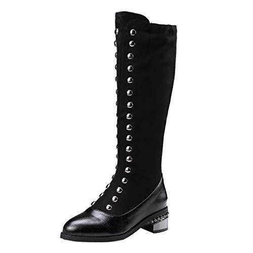 Damen Winter Stiefel 2019 Frauen kühlen Metalldekoration-Socken-Aufladungs-Art- und Weisedicke hohe Aufladungen ab Wild Ausgehen Basic Warm Wadenlänge Knielänge Stiefel(Schwarz,44)