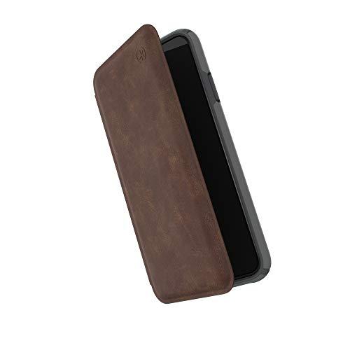 Speck Presidio Folio Leath For Iphone Xs Max Saddle Brown Light Graph. Grey 117110-7394
