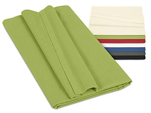 npluseins Laken ohne Gummizug - 100% Baumwolle - ca. 150 x 250 cm 701.887, grün