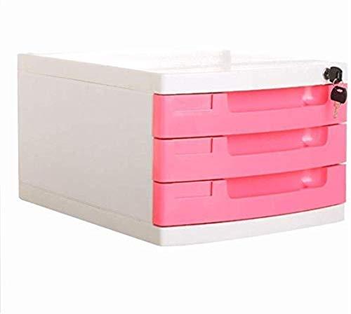 Archivadores con cerradura de llaves planas Caja de almacenamiento de almacenamiento de oficina de datos de 3 cajones - Archivadores multicolores para archivador 29.5X39.4X21.8cm Librería (Color: Rosa