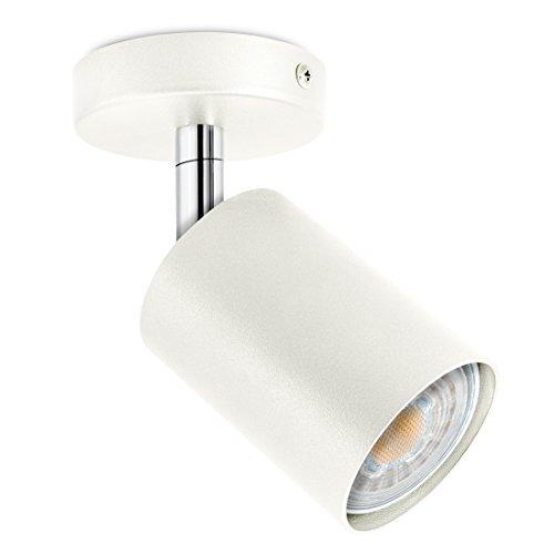 LED Decken & Wand Spotleuchte weiß 1-flammig schwenkbar & drehbar - Spotserie 1er - Strahler inkl. 1 x GU10 LED warmweiß 230V