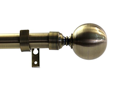 Urbanest 1-inch Diameter Steel Ball Adjustable Single Drapery Curtain Rod, 48-inch to 84-inch, Antique Brass