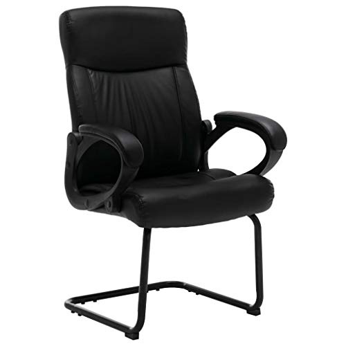 vidaXL Freischwinger Bürostuhl mit Armlehne Besucherstuhl Konferenzstuhl Schwingstuhl Schreibtischstuhl Büromöbel Sessel Schwarz Kunstleder