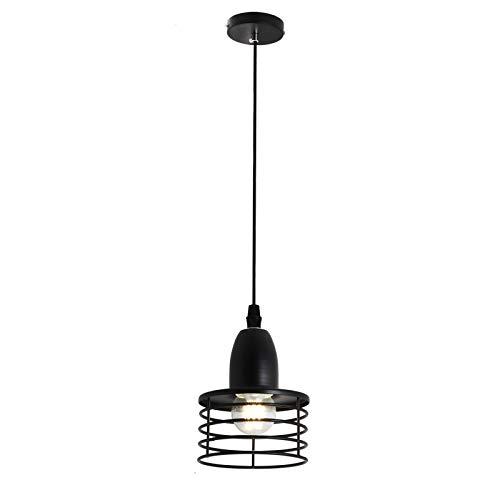Creativo Metal Colgante de techo Moderno Comedor Lámpara decorativa E27 Lámpara colgante por Habitación Cama Corredor Escalera Isla de cocina Cafetería Iluminación interior Lámpara de techo,Negro