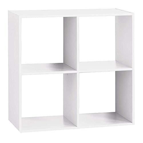 AC-Déco Etagère 4 Cases - L 67,6 x P 32 x H 67,6 cm - Bois - Blanc