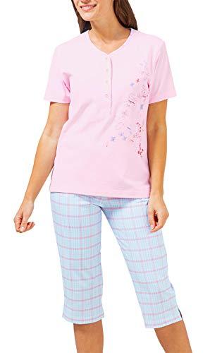 hajo - Damen Schlafanzug Kurzarm (Capri Pyjama) rosé Aqua Klima-Komfort* 52/54