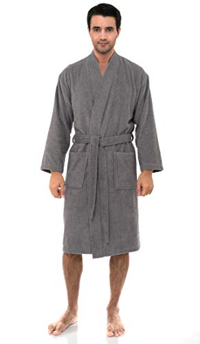 TowelSelections Men's Robe, Turkish Cotton Terry Kimono Bathrobe Large/X-Large Cloudburst