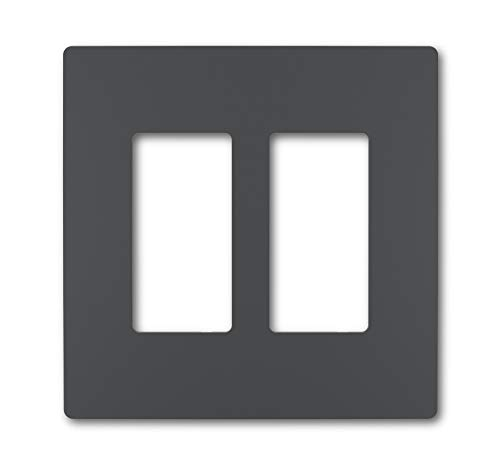Legrand radiant Screwless Wall Plates for Decorator Rocker Outlets, 2-Gang, Graphite, RWP262GCC6
