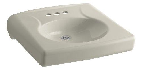 KOHLER K-1997-4N-G9 Brenham Wall-Mount Bathroom Sink with 4' Centerset, Less Soap Dispenser Hole and Overflow, Sandbar