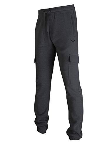 Screenshot SPORTS-A4052 Mens Premium Slim Fleece Pants Cargo Pockets - Athletic Utility Jogger Fitness Workout Gym Sweatpants-Charcoal-Medium
