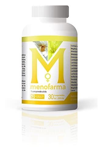 MENOFARMA - Tratamiento eficaz para los síntomas de la MENOPAUSIA con Magnolia, Sauzgatillo, Soja, Onagra, Megaflora 9 Evo y Calcio - Control de Sofocos - Alivio de la hinchazón abdominal.