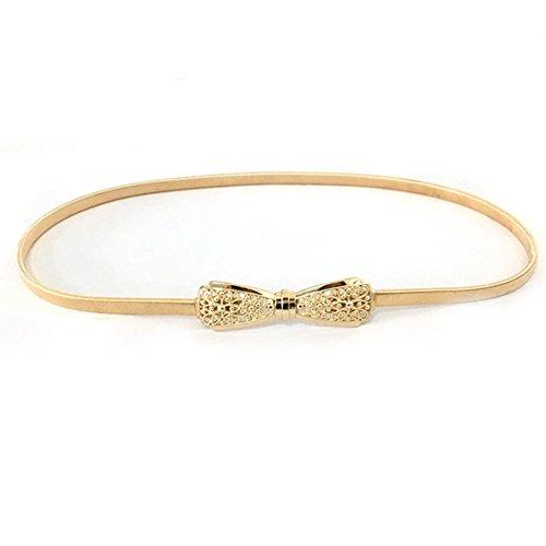 NUREINSS Stretchgürtel Damen dekorativen Stretchy Gürtel Taillengürtel Hüftgurt elastischer Gürtel für Kleider 70-100cm Gold2