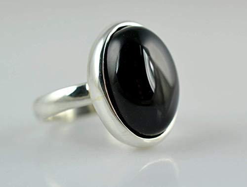 Schwarzer Onyx Ring, 925 Sterling Silber, handgefertigte Ring, schwarzer Ring, schwarzer Onyx Schmuck, Größe 14 bis 22 DE
