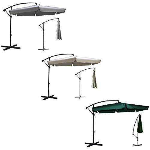 Plonos Sonnenschirm Marktschirm Gartenschirm 6 Dachstreben Ø 350cm DREI Farbvarianten (Beige)