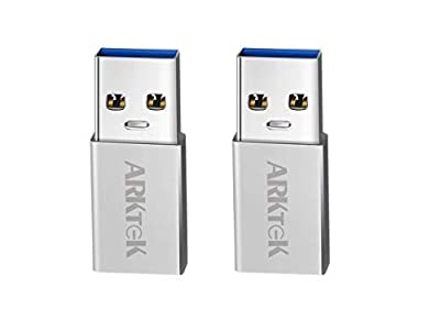 USB 3.0 to USB-C Adapter, ARKTEK USB A 3.0 (male) Convert to USB Type C (female) Adapter for PC Laptop Samsung S9 iPhone X and more (Pack of 2, Aluminum) from ARKTEK