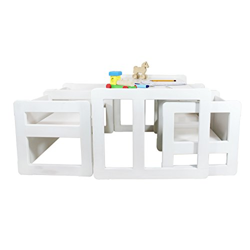 Set Mobili Multifunzionali 3 in 1 Set 5 Pezzi, Quattro Sedie Multifunzionali O Tavolini E Una Banchina Grande Multifunzionale O Tavolo Oppure Quattro di Tavolini da caffè in Faggio Colore Bianco