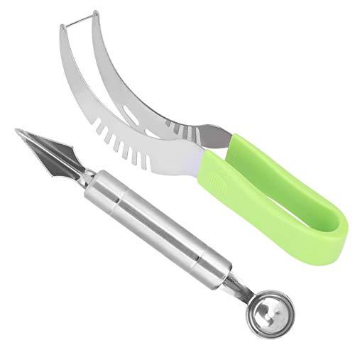 Cortador de rebanadas de sandía, herramienta para rebanar sandía, profesional para chef, fácil de usar en el hogar(Watermelon knife + carving knife)