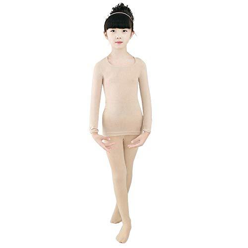 BOZEVON Thermounterwäsche Set - Mädchen Kinder Ultra weich Langärmelig Base Layer Oberteile & Strumpfhosen für Ballett Tanzen Tägliche Abnutzung, Teint (Oberteil + Strumpfhose)/Medium