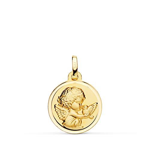 Medalla de Bebé Ángel y Pájaro Oro Amarillo 18K 16MM - Grabado personalizado incluido