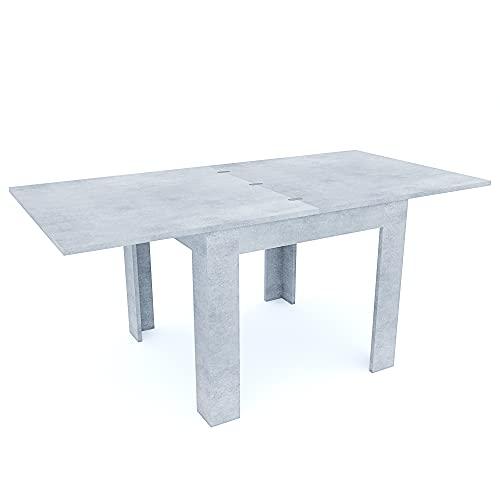 Tavolo Da Pranzo In Legno Allungabile A Libro Fino a 180 cm Ideale Salotto Cucina Soggiorno Tavolino Consolle Salone Design Moderno Elegante Posadas 180 x 90 x 79 cm (Grigio Cemento)