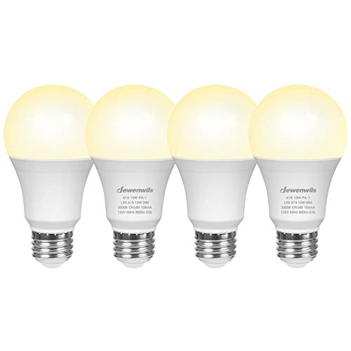 DEWENWILS 4-Pack Dimmable LED A19 Light Bulb, Soft White Light with Warm Glow, 800-Lumen, 3000-Kelvin, 10-Watt (60-Watt Equivalent), E26 Medium Screw Base, UL Listed