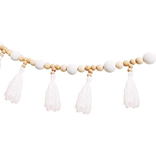 SNOWINSPRING Kid Baby Room Yarn and Bead Garland Hanging with Tassel Nursery Pearl Decor Props for Kids Room Gift-White