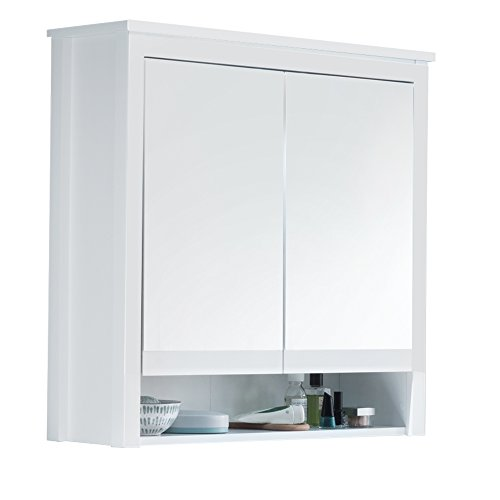 trendteam smart living Badezimmer Spiegelschrank Spiegel Ole, 81 x 80 x 25 cm in Korpus Weiß Melamin, Front Weiß Dekor ohne Beleuchtung