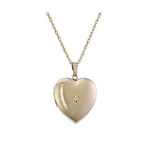 Collier à pendentif cœur avec or jaune 14 carats et diamants - 0