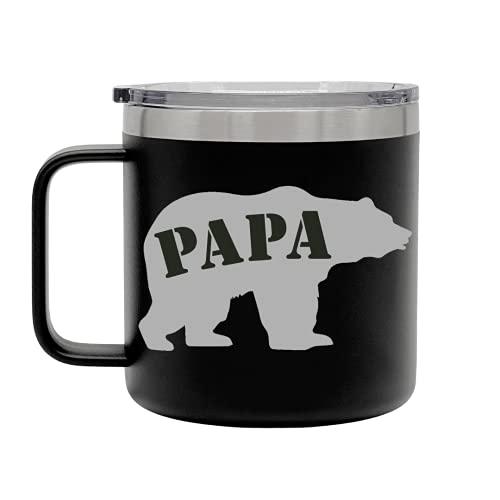 Regalos del día del padre para ocasiones festivas, regalos de papá para papá, padre, tíos, abuelos y jaja, únicos, tazas de café divertidas de acero inoxidable (15 onzas –...