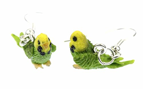 pendientes Parakeet Miniblings pájaros periquitos aves perico verde Fimo