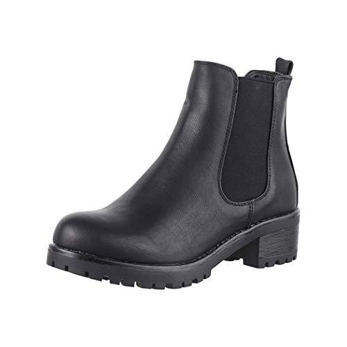 Elara Damen Stiefeletten Chelsea Boots Chunkyrayan S160 Black-38