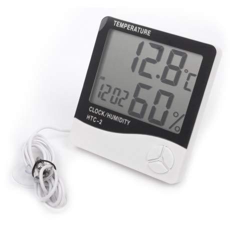 GrowPRO - Termometro e igrometro Digitale con sonda di misurazione Extra per Temperatura Esterna Interna