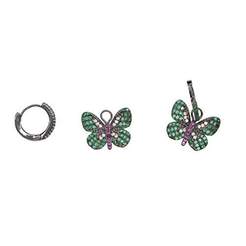 N/A joyería Elegante Colorido Cz Piedra Lindo Animal Mariposa Encanto Pendientes Mujeres niñas Lindos Regalos Negro